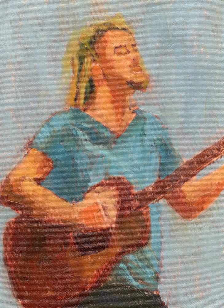 """Guitar Man II"" original fine art by Marlene Lee"