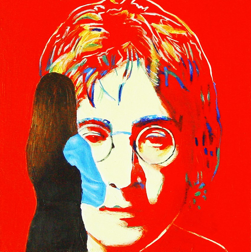 """Red John- Painting Of Woman Enjoying Painting Of John Lennon By Andy Warhol"" original fine art by Gerard Boersma"
