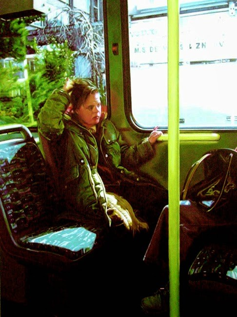 """""""City Bus- Painting Of Woman With Down Syndrome Riding A City Bus"""" original fine art by Gerard Boersma"""