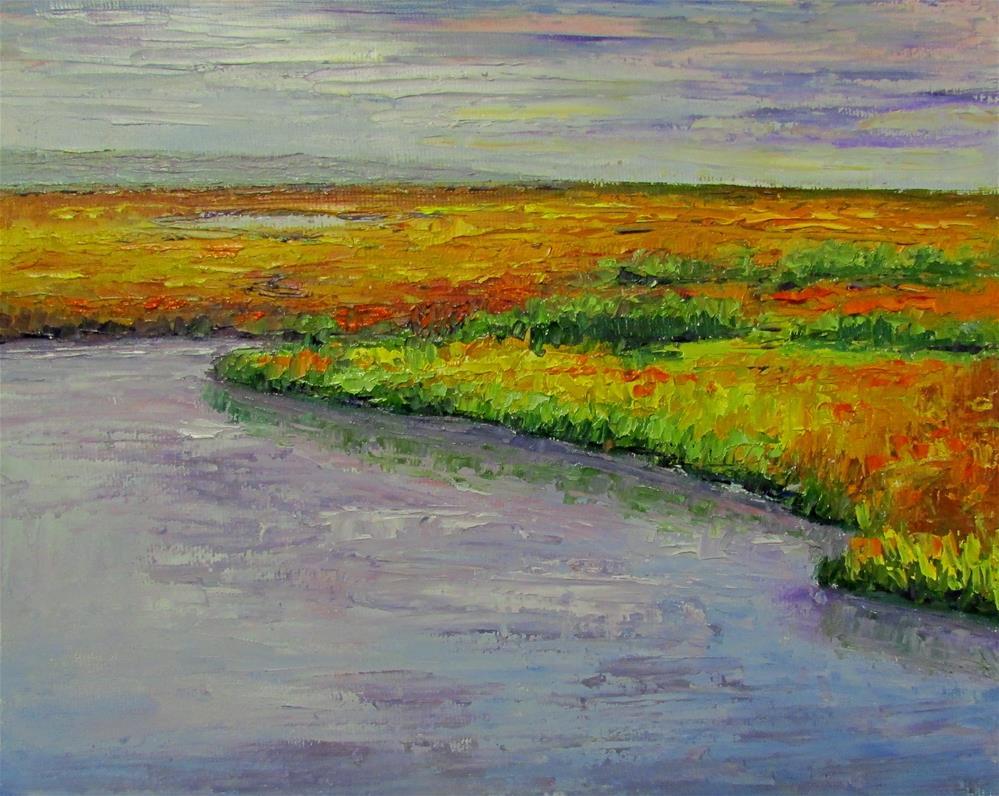 """8 x 10 inch oil Marsh Study"" original fine art by Linda Yurgensen"