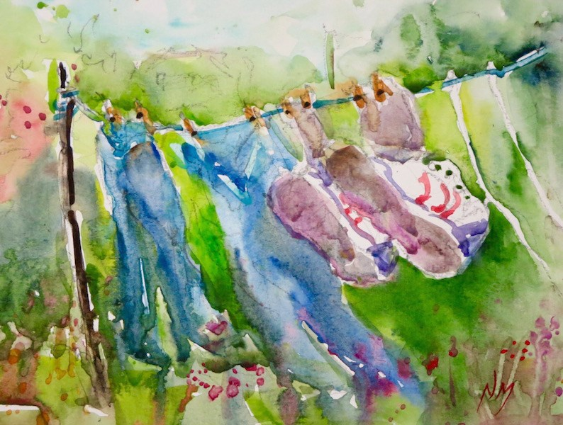 """""""shoes on the line"""" original fine art by Nora MacPhail"""