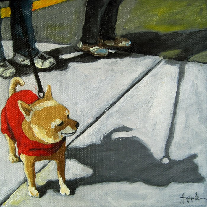 """Chihuahua dressed for a city walk dog portrait"" original fine art by Linda Apple"