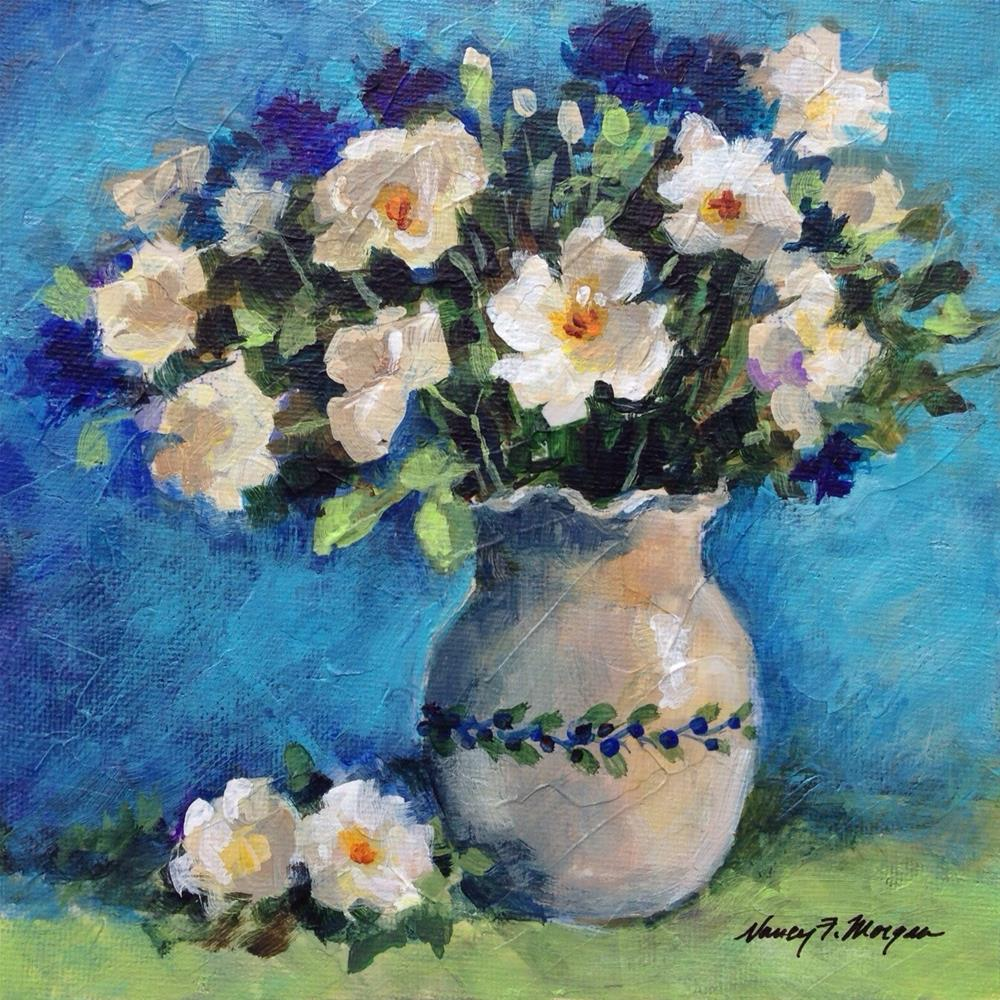 """Blueberry Roses"" original fine art by Nancy F. Morgan"