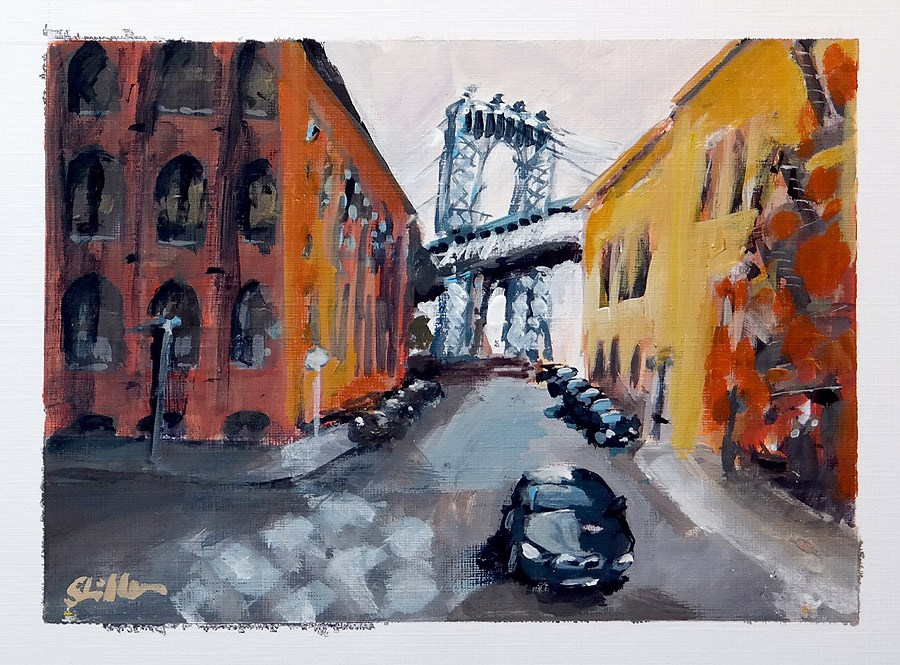 """1801 Postcard of NYC Streetview 4"" original fine art by Dietmar Stiller"
