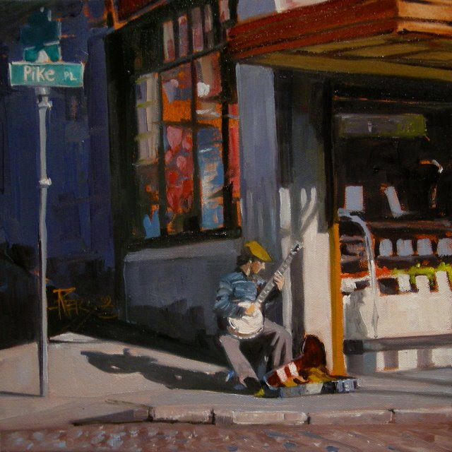 """""""The Banjo Player Seattle city scenes, oil painting"""" original fine art by Robin Weiss"""