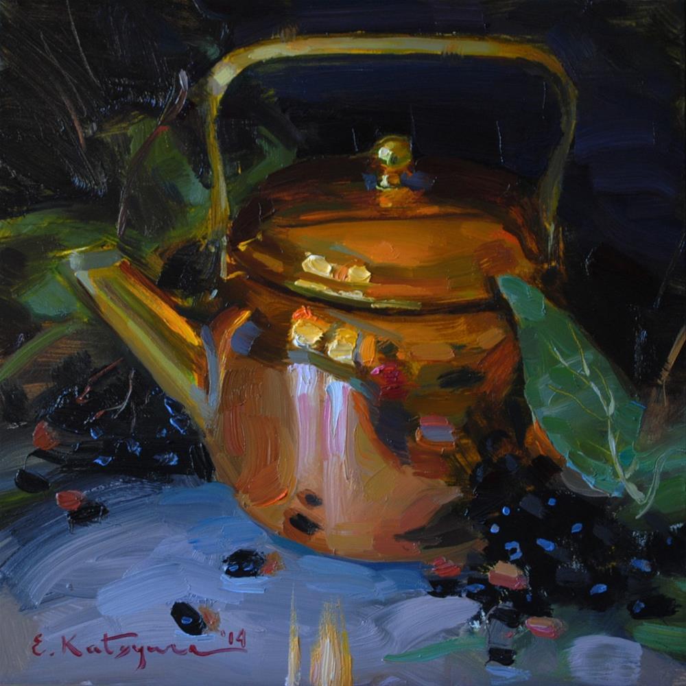 """""""Copper Teapot"""" original fine art by Elena Katsyura"""