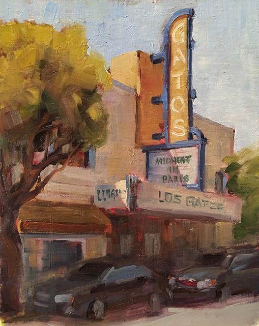 """""""Downtown Theater"""" original fine art by Deborah Newman"""