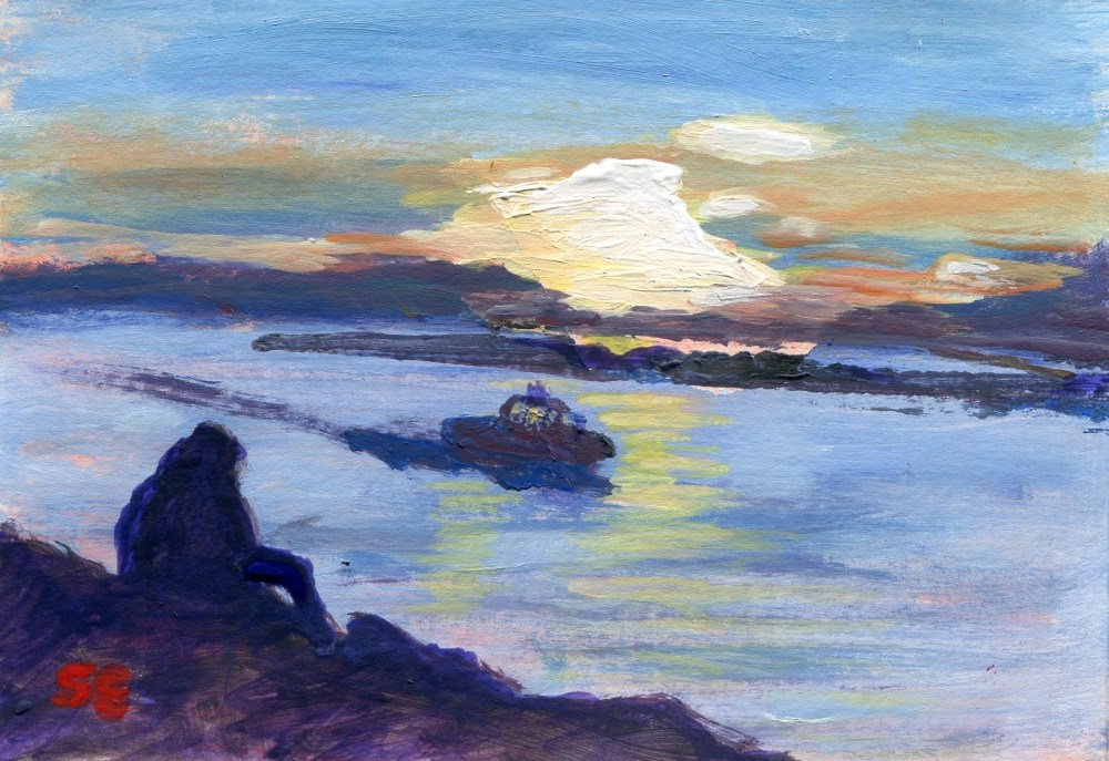 """""""Watching The Boats Come In II"""" original fine art by Stanley Epperson"""