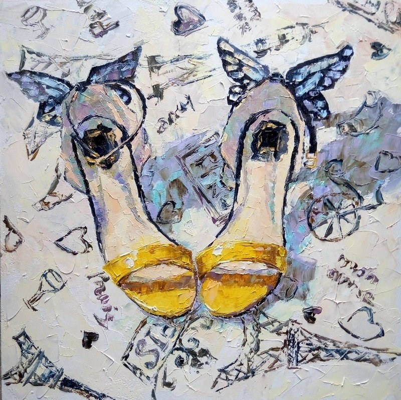 """Yellow Shoes"" original fine art by Valerie Lazareva"