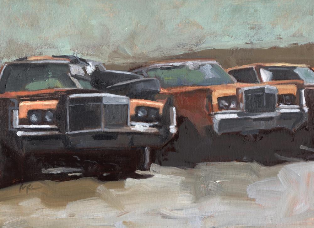 """Old Cars at the Garcia Farm"" original fine art by Marlene Lee"