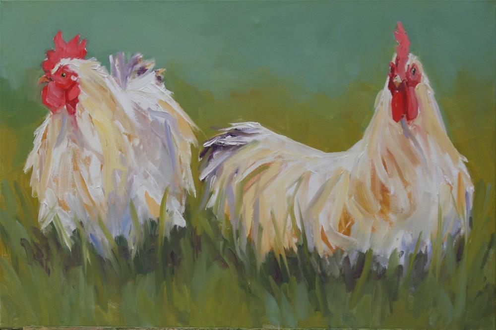 """""""fluffy fowl spat"""" original fine art by Carol Carmichael"""