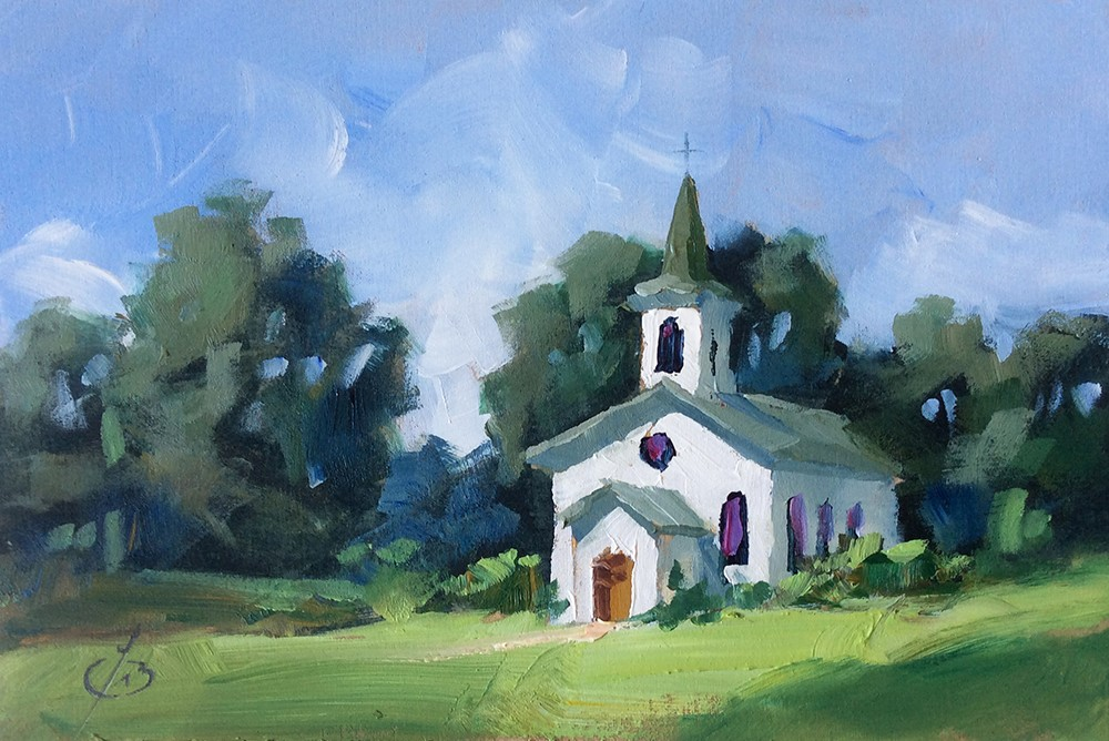 """COUNTRY CHURCH"" original fine art by Tom Brown"