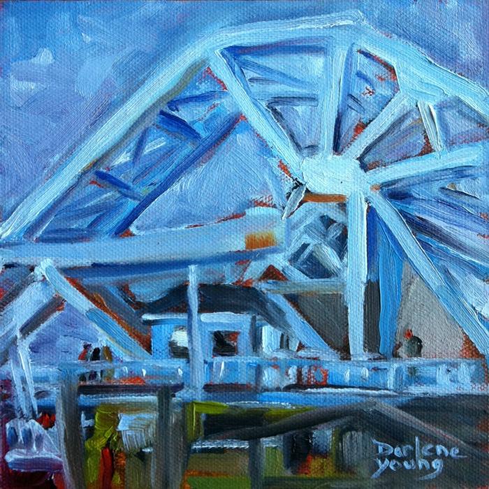 """Blue Bridge November, oil on board, 6x6"" original fine art by Darlene Young"
