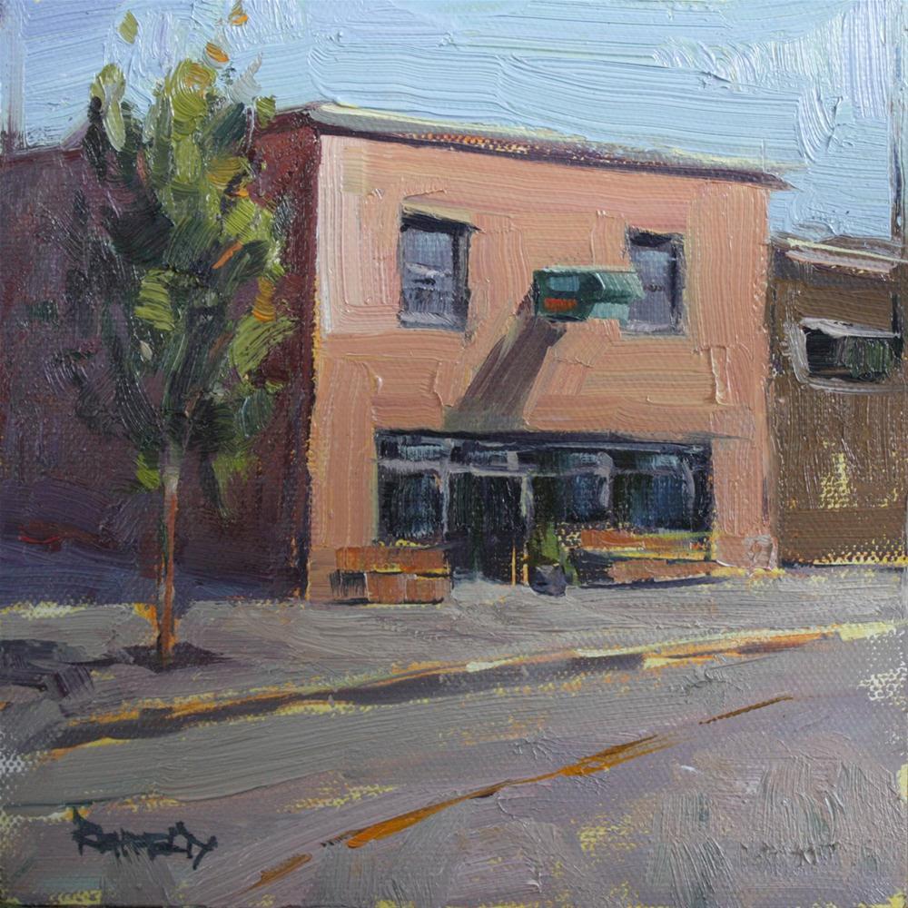 """Sunny Morning at Ground Coffee Shop"" original fine art by Cathleen Rehfeld"
