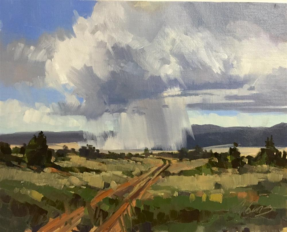 """""""Storms on the road to Nowhere"""" original fine art by Mary Jabens"""