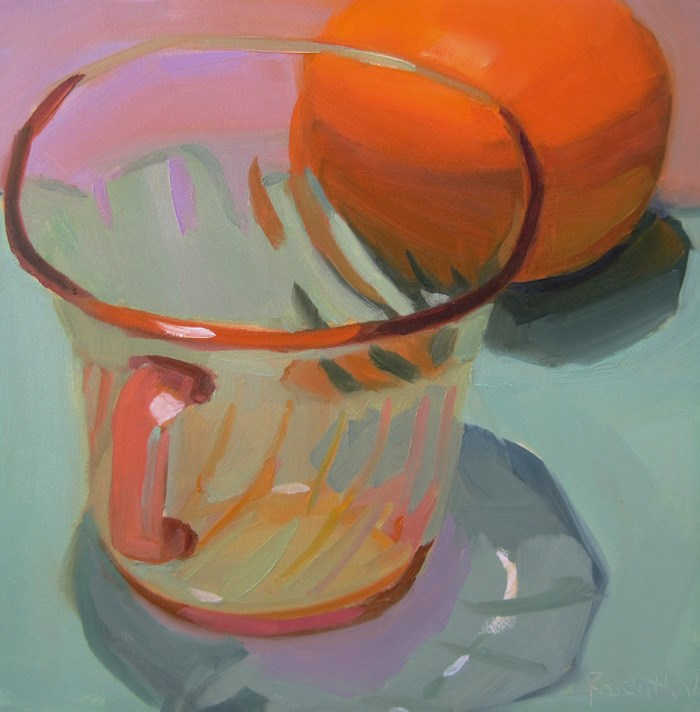"""Pink Glass and Orange"" original fine art by Robin Rosenthal"