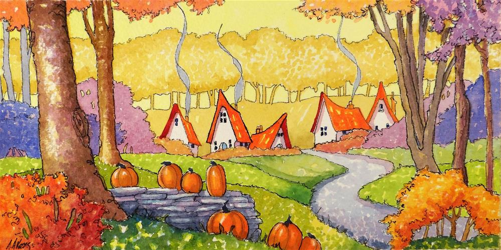 """""""Welcome an October Morning Storybook Cottage Series"""" original fine art by Alida Akers"""