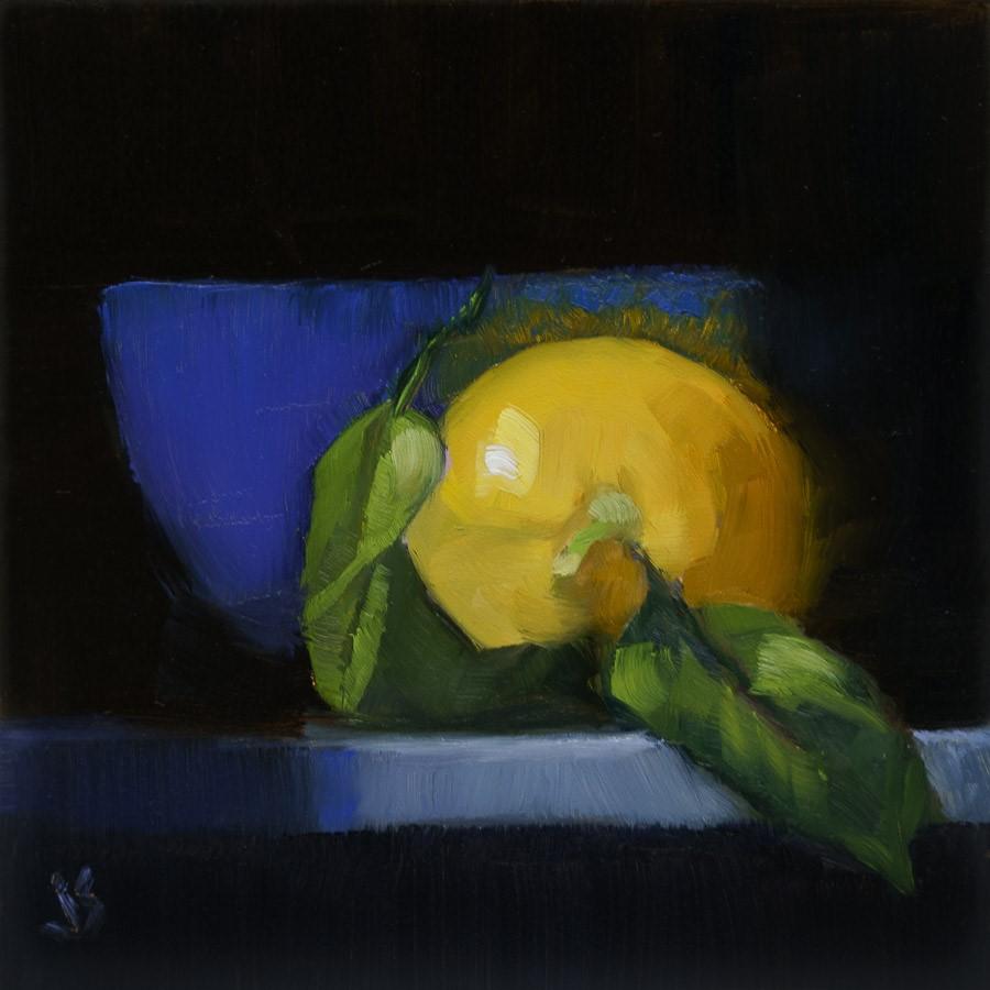 """""""Blue Bowl with Tangerine"""" original fine art by Johnna Schelling"""