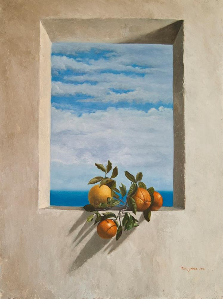 """Oranges on a window sill – Summer Bliss"" original fine art by Paulo Jimenez"