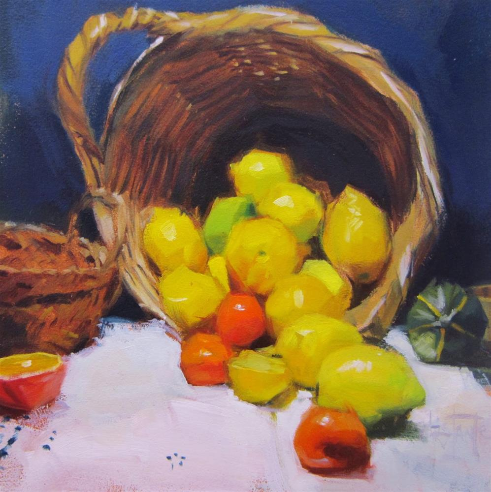 """Basket of lemons"" original fine art by Víctor Tristante"