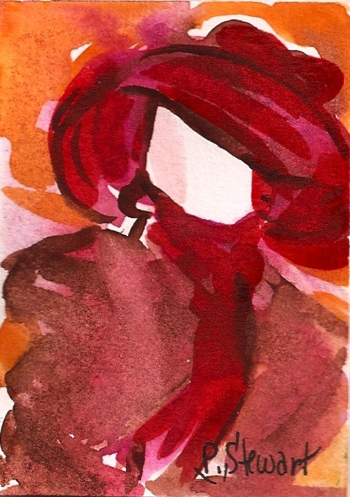 """ACEO Mannequin in a Red Hat"" original fine art by Penny Lee StewArt"