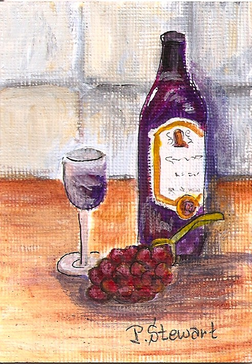 """""""ACEO A Bottle of Wine, Glas and Fruit"""" original fine art by Penny Lee StewArt"""