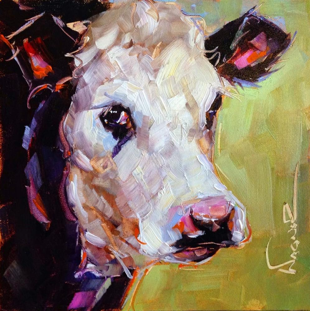 """ORIGINAL CONTEMPORARY COW PAINTING in OILS by OLGA WAGNER"" original fine art by Olga Wagner"