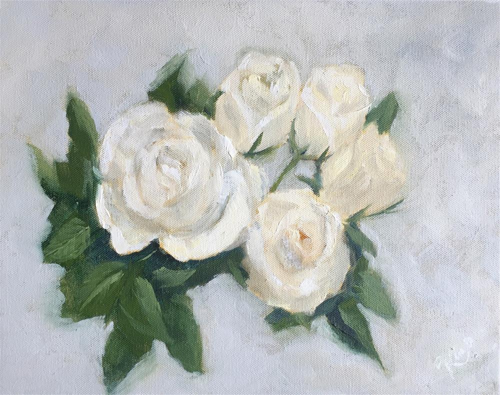 """""""White Roses with Gray Background """" original fine art by Kim Peterson"""