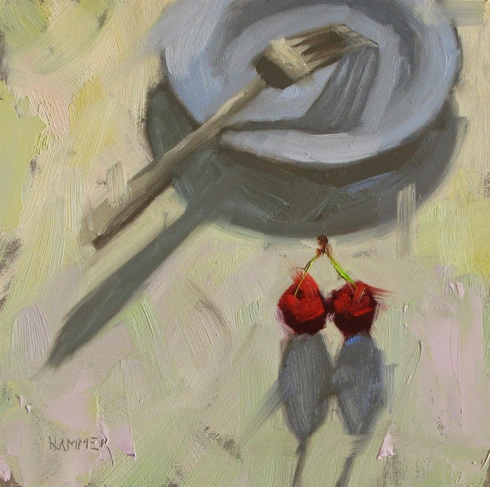 """""""Two cherries and a blue plate  6in x 6in  oil painting"""" original fine art by Claudia Hammer"""