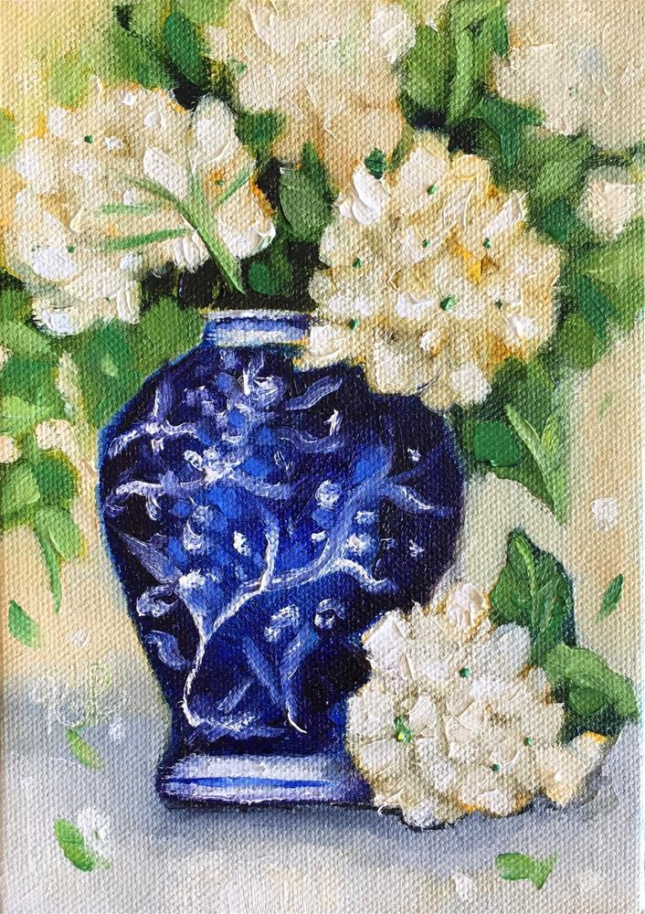 """Hydrangeas in Blue and White Vase"" original fine art by Kim Peterson"