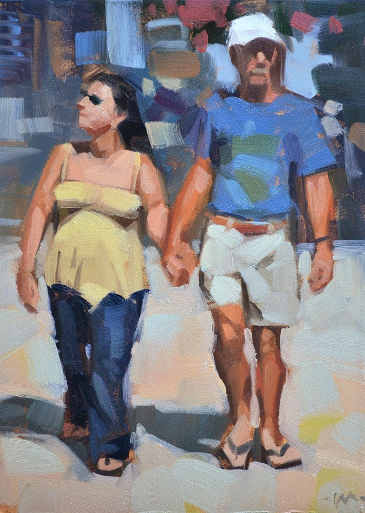 """Strolling in Florida"" original fine art by Carol Marine"