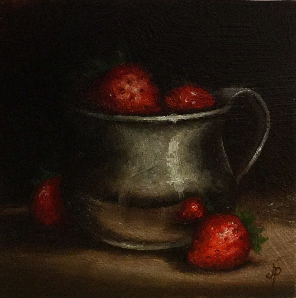 """Strawberries in silver cup"" original fine art by Jane Palmer"