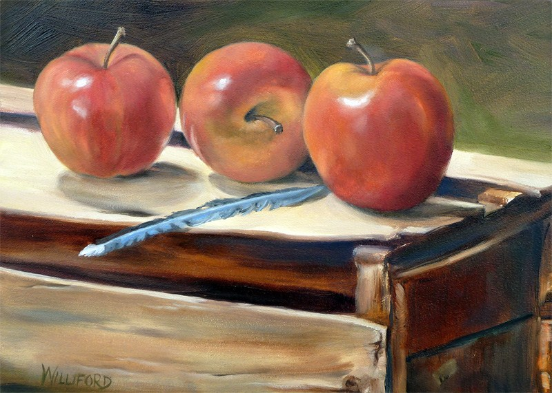 """Apples and Blue Feather"" original fine art by Kathleen Williford"