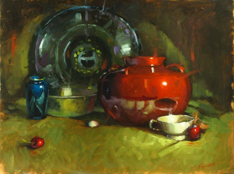 """""""white cup and cherries"""" original fine art by Dave Froude"""