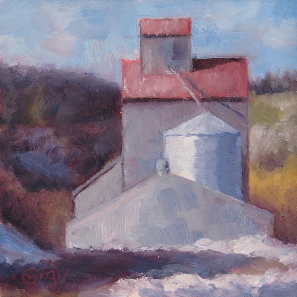 """Grain Tower & Snow"" original fine art by Naomi Gray"