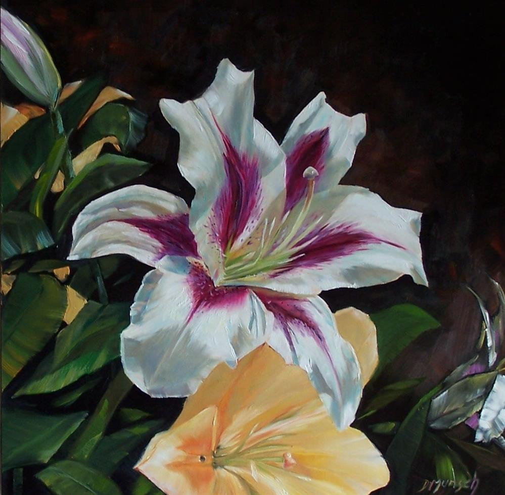 """Red and White Lily"" original fine art by Donna Munsch"