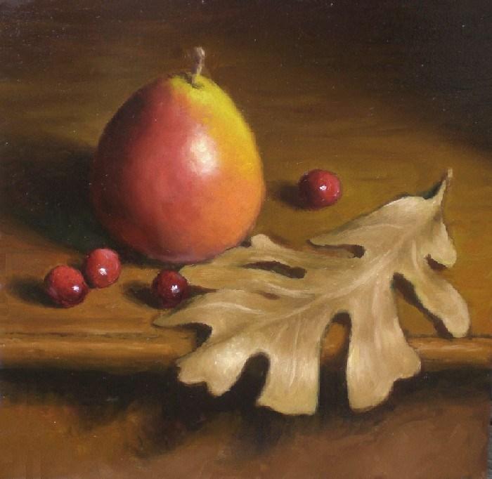 """""""Seckel Pear and Oak Leaf"""" original fine art by Debra Becks Cooper"""