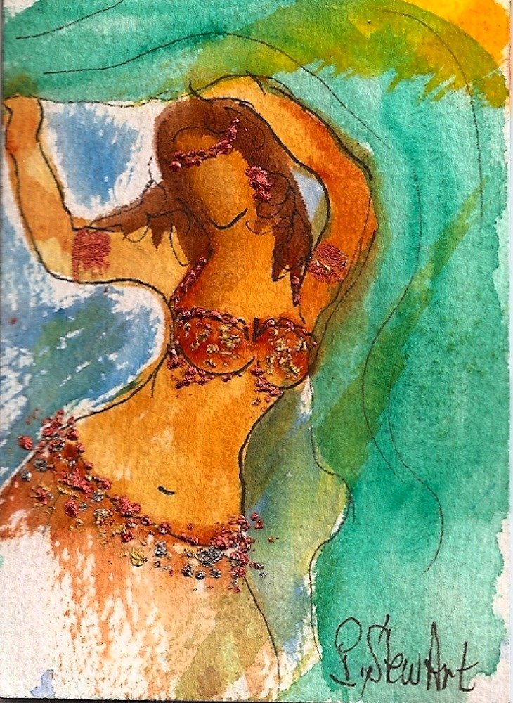 """""""ACEO Belly Dancer #4 Series - Watercolor and Pen, w/Metallic Accents, original"""" original fine art by Penny Lee StewArt"""