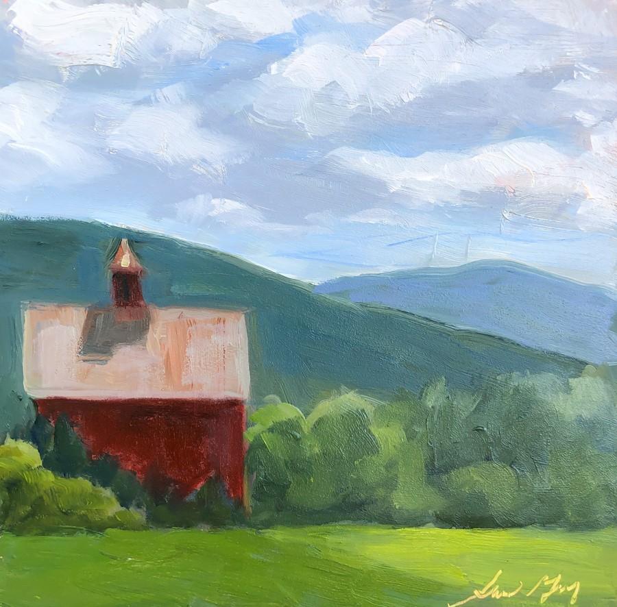 """#272 - Red Barn -Stowe, VT"" original fine art by Sara Gray"