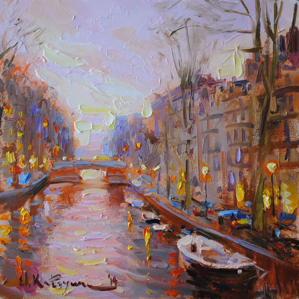 """Sunset Lights"" original fine art by Elena Katsyura"