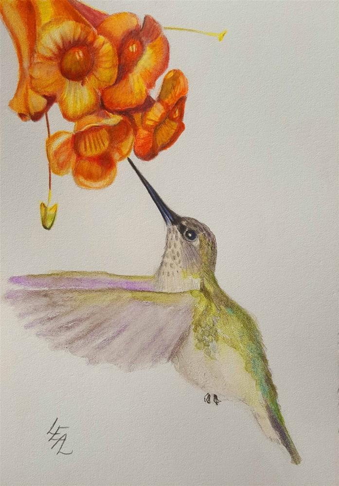 """Trumpet Angel"" original fine art by Anna Lisa Leal"