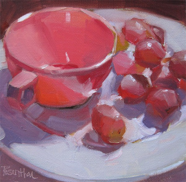 """Grappling with Grapes"" original fine art by Robin Rosenthal"