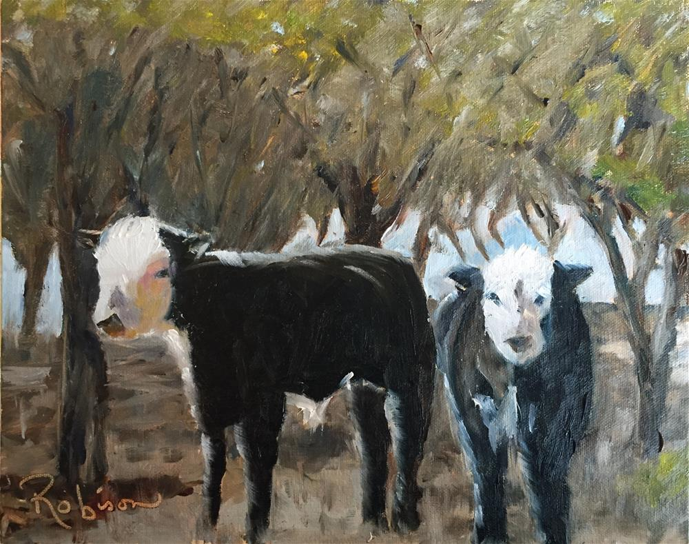 """Bovines in the sun "" original fine art by Renee Robison"