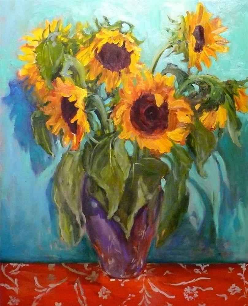 """675 VanGogh Sunflowers"" original fine art by Darlene Young"