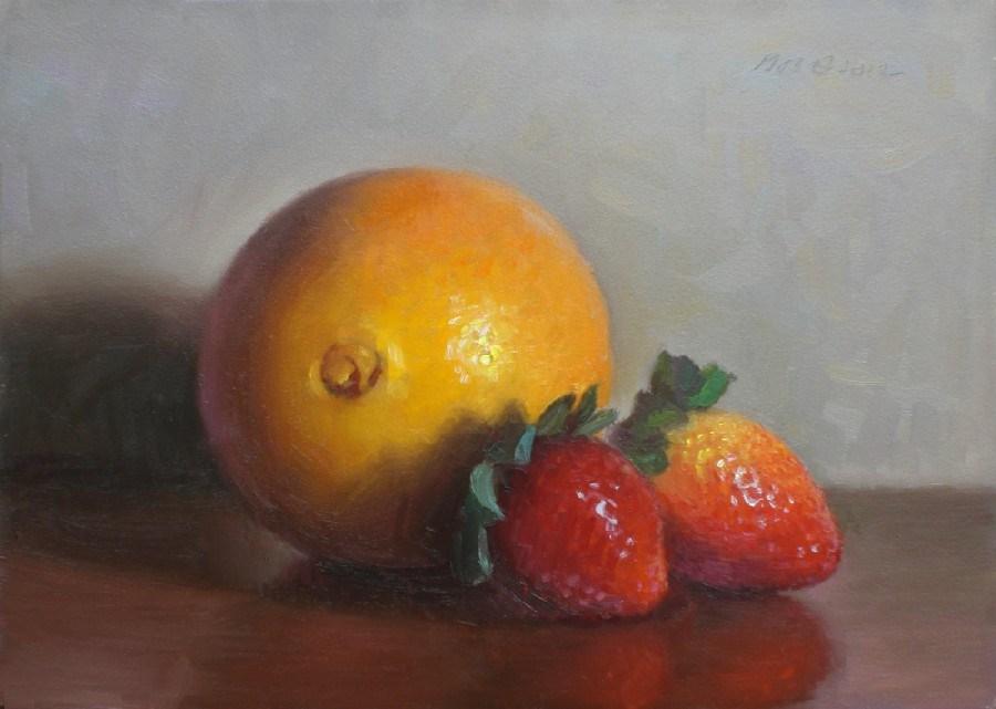 """Orange and Strawberries"" original fine art by Debra Becks Cooper"