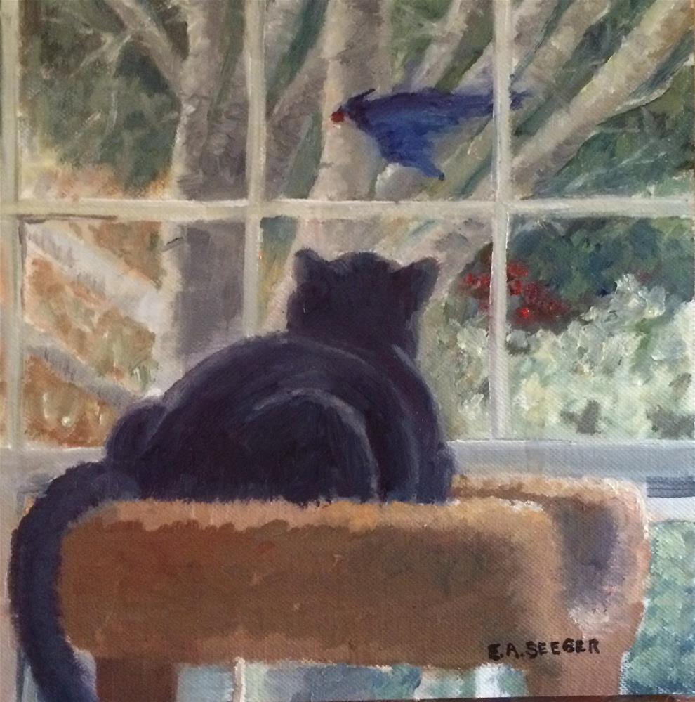 """Reggie and the Berry Thief"" original fine art by Elisabeth Seeger"