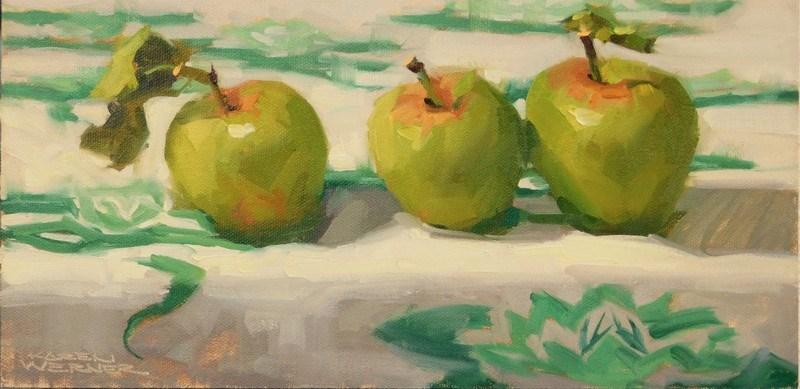 """""""Apples On Vintage Linen"""" original fine art by Karen Werner"""