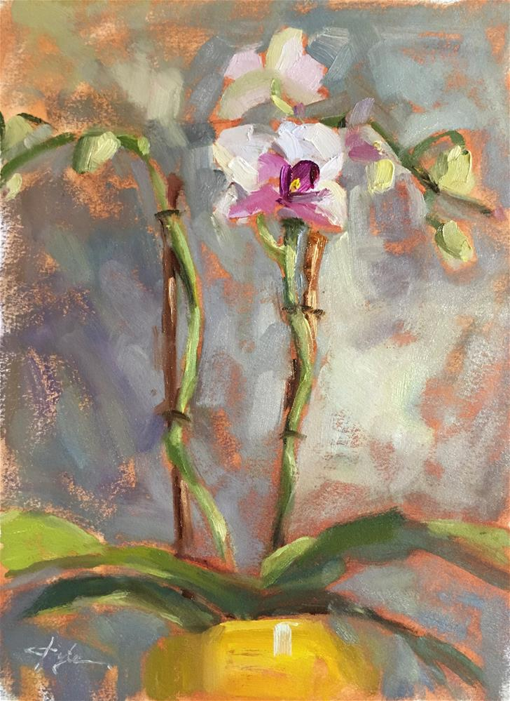 """""""Orchid in a Yellow Pot"""" original fine art by Katia Kyte"""