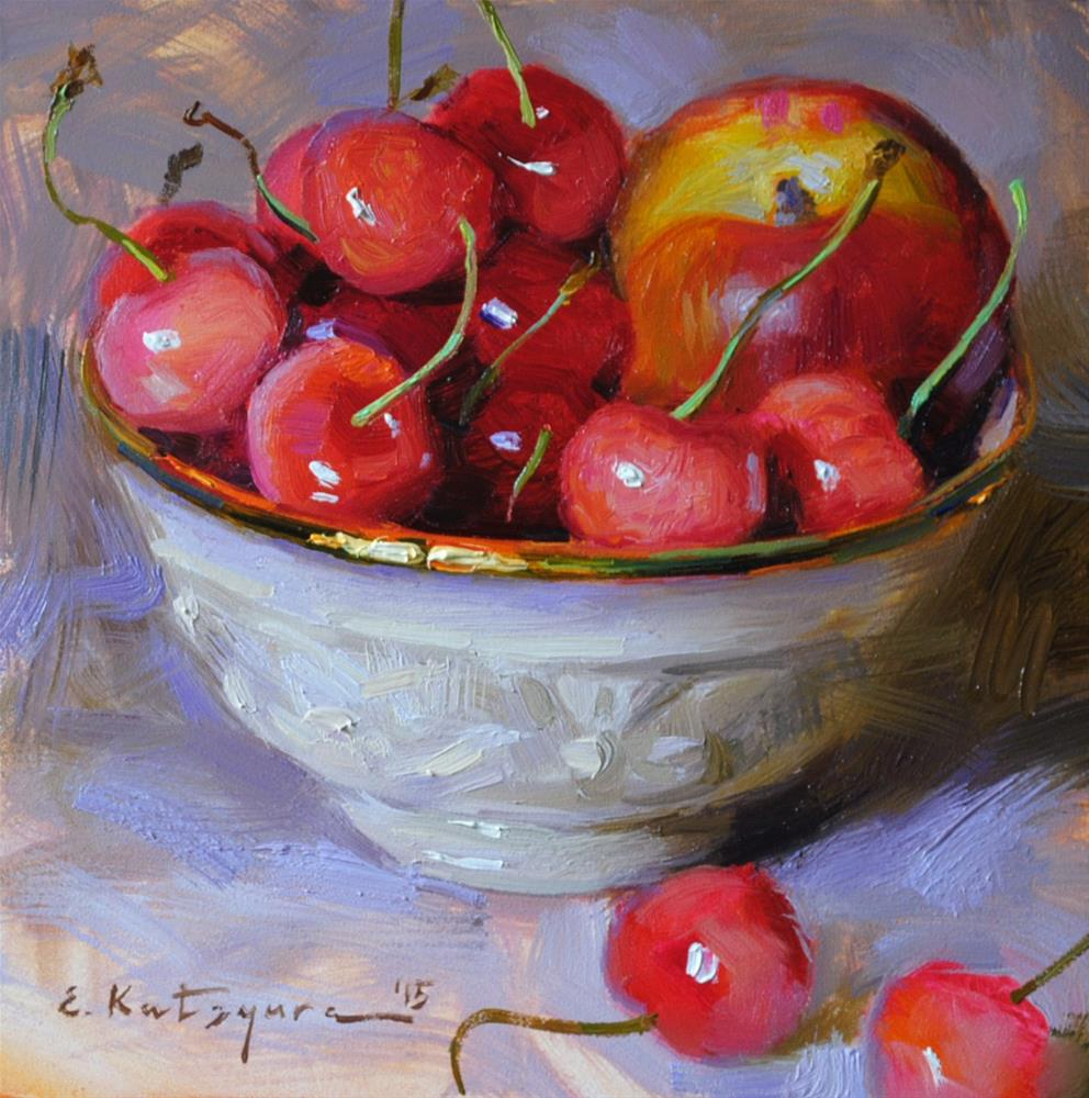 """Nectarine and Cherries"" original fine art by Elena Katsyura"