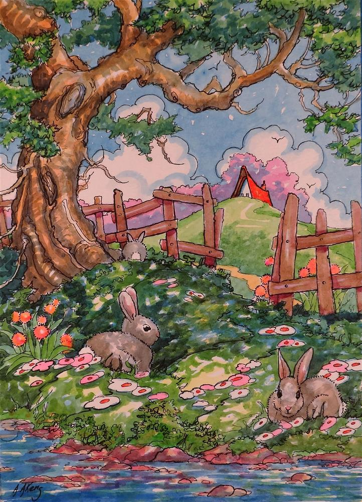 """""""Bunny Shade Storybook Cottage Series"""" original fine art by Alida Akers"""